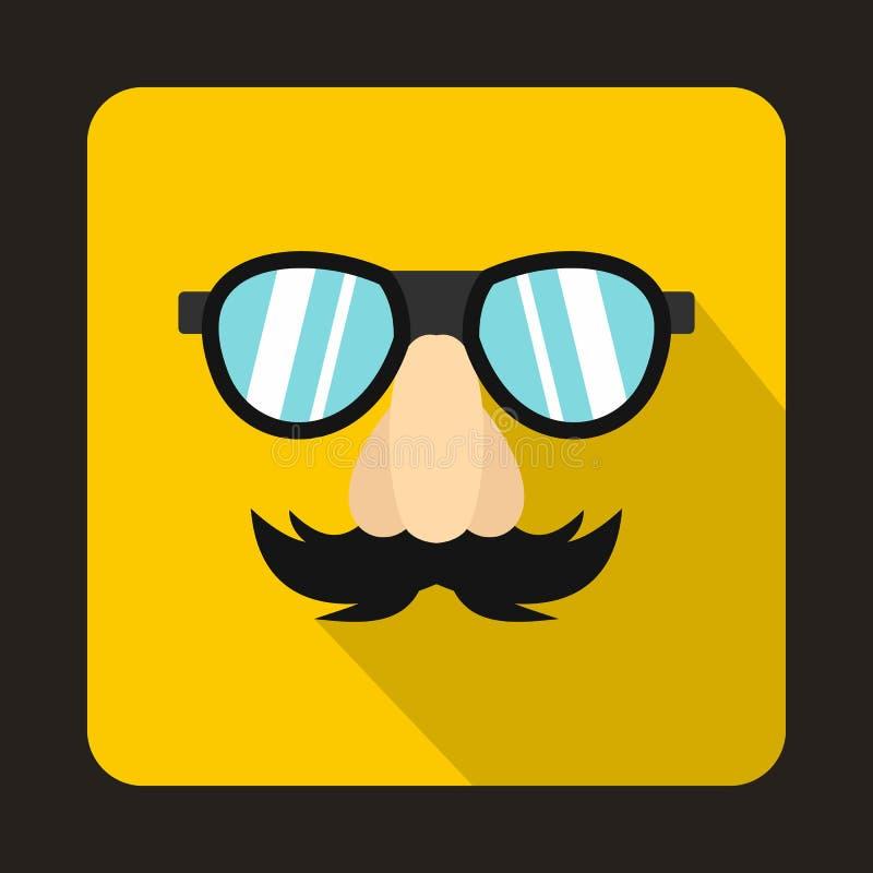 Fausse moustache de nez de comédie, sourcils, icône en verre illustration de vecteur