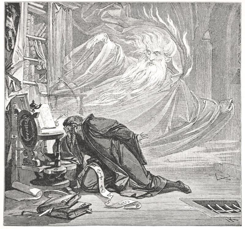 Faust parle avec l'esprit illustration de vecteur