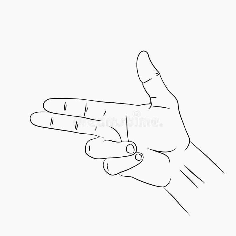 Faustfeuerwaffe- oder Pistolengeste Linie Hand gezeichnete Skizze Vektor lizenzfreie abbildung