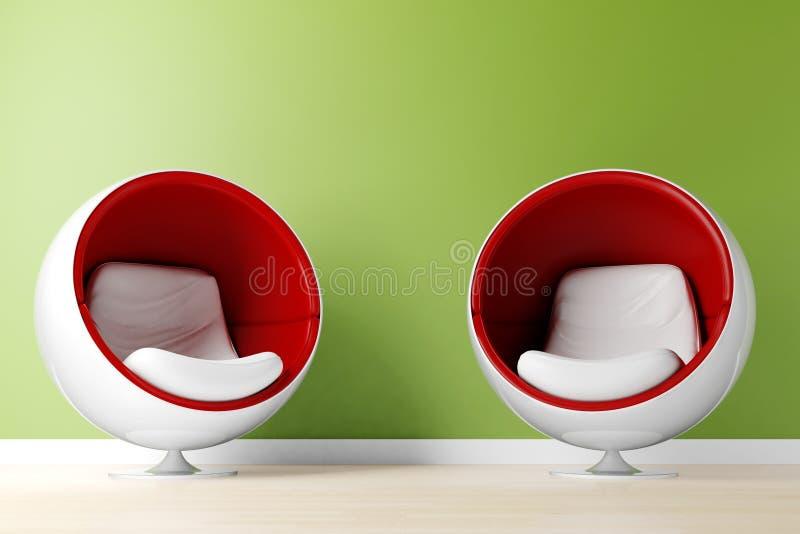 fauteuil 3d dans une chambre avec un mur vert illustration de vecteur