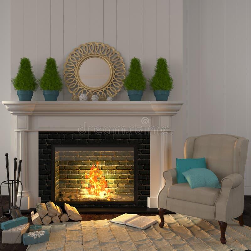 Fauteuil beige de vintage près de la cheminée avec le décor de Noël photos stock