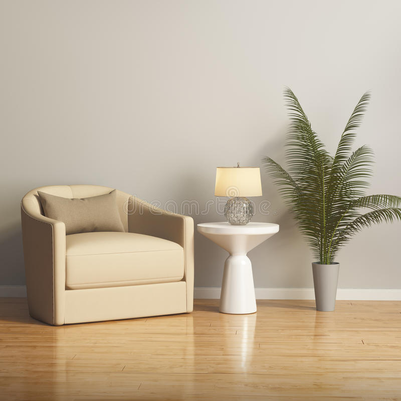 Fauteuil beige moderne dans un salon contemprary image libre de droits