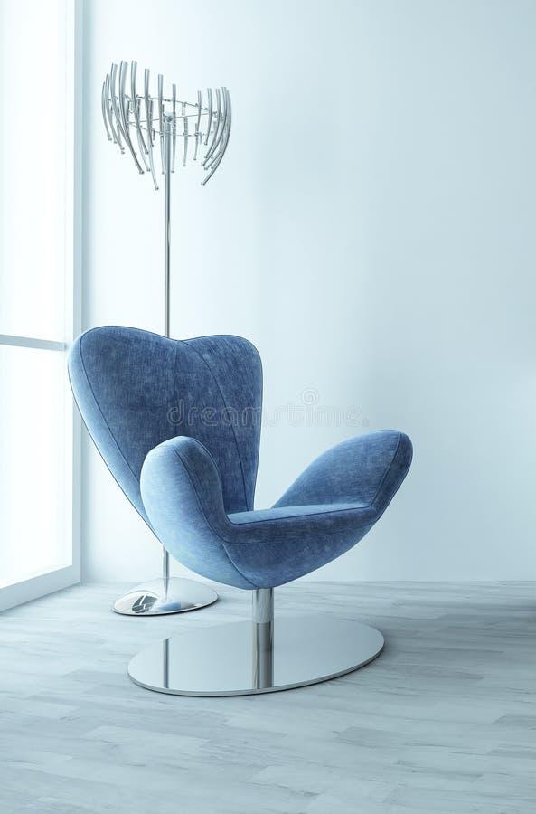 Fauteuil bleu élégant dans une salle blanche moderne illustration de vecteur