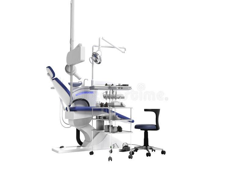 Fauteuil bleu de concept moderne et équipement dentaire pour le trea de dent illustration de vecteur