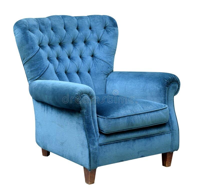 Fauteuil bleu tapissé de velours photos libres de droits