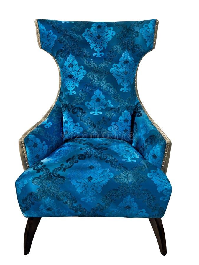Fauteuil classique bleu de style de vintage avec la texture florale de tapisserie d'ameublement d'isolement sur le fond blanc Tis illustration libre de droits
