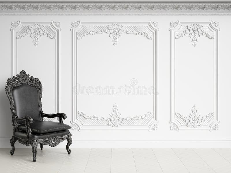 Fauteuil classique dans l'int?rieur classique avec l'espace de copie Gamma noir et blanc illustration stock