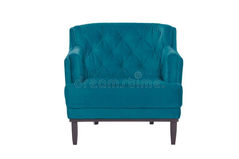 Fauteuil de bleu de Beaultiful chaise moderne de concepteur sur le fond blanc photo stock