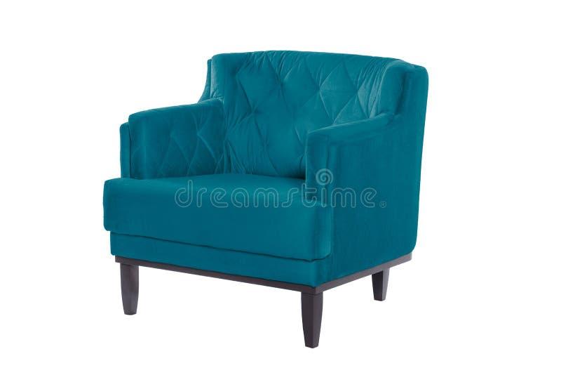 Fauteuil de bleu de Beaultiful chaise moderne de concepteur sur le fond blanc images libres de droits