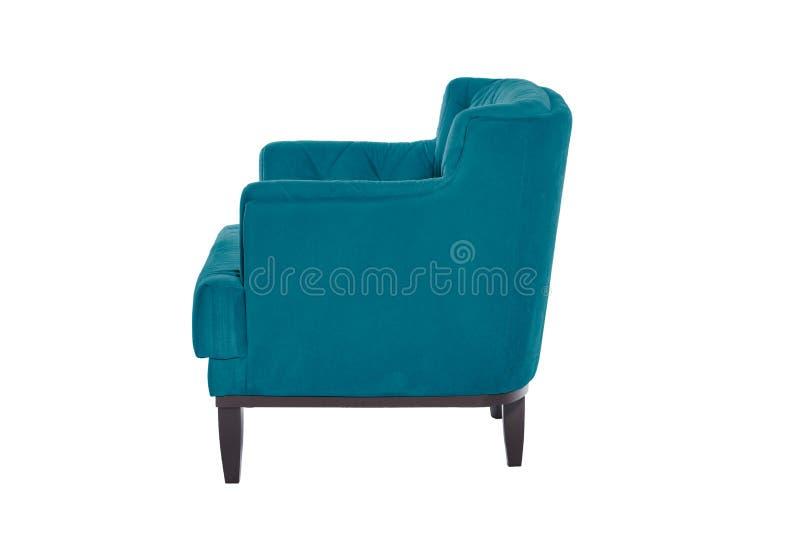 Fauteuil de bleu de Beaultiful chaise moderne de concepteur sur le fond blanc photographie stock