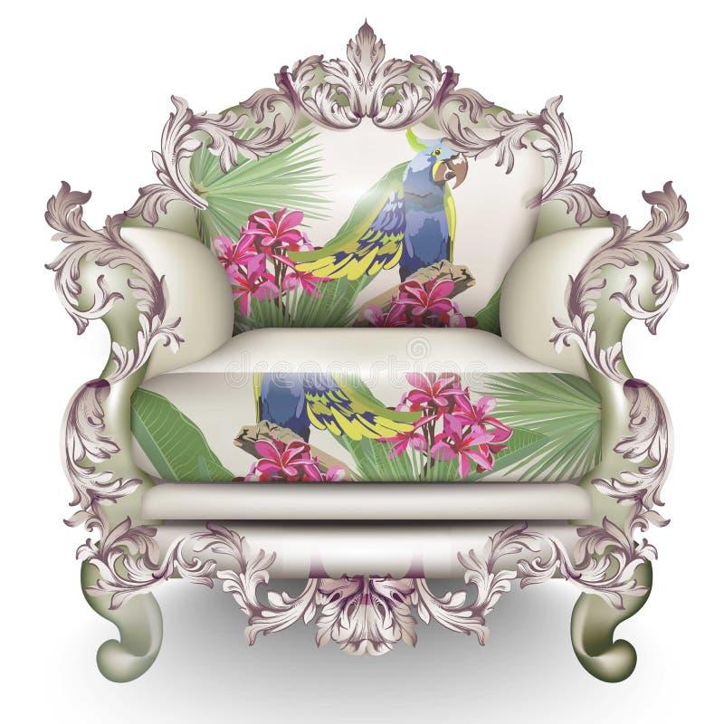 Fauteuil de luxe baroque Rich Furniture a découpé ornementé Texture exotique de tissu Conceptions 3D réalistes de vecteur illustration stock