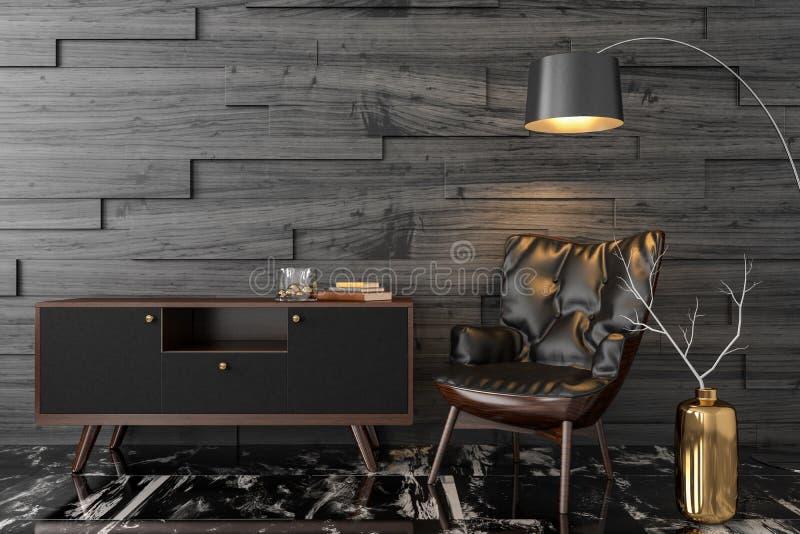 Fauteuil en cuir noir dans la chambre vide illustration de vecteur
