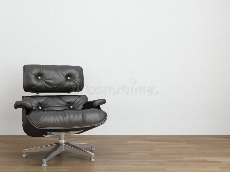 Fauteuil en cuir pour faire face à un mur blanc illustration stock