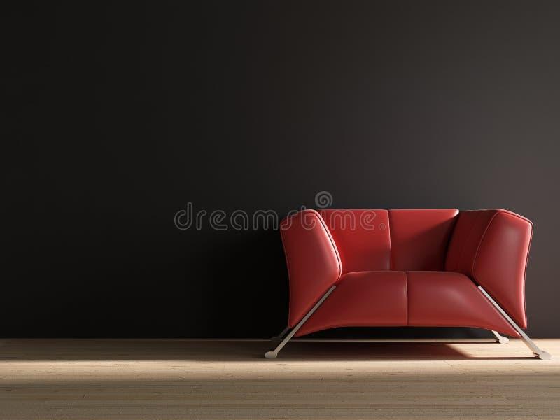 Fauteuil en cuir rouge pour faire face à un mur blanc illustration libre de droits