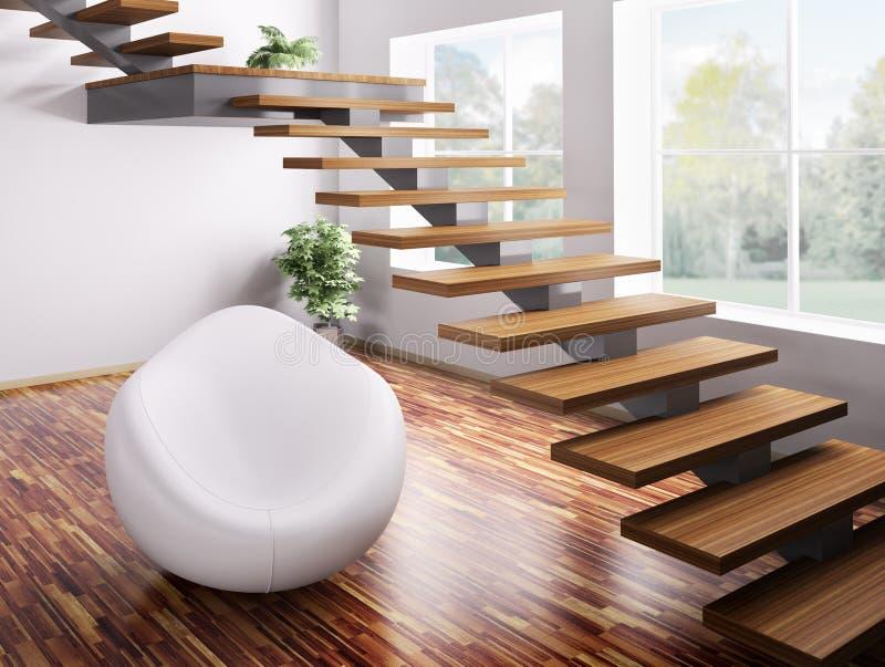 Fauteuil et escalier 3d illustration libre de droits