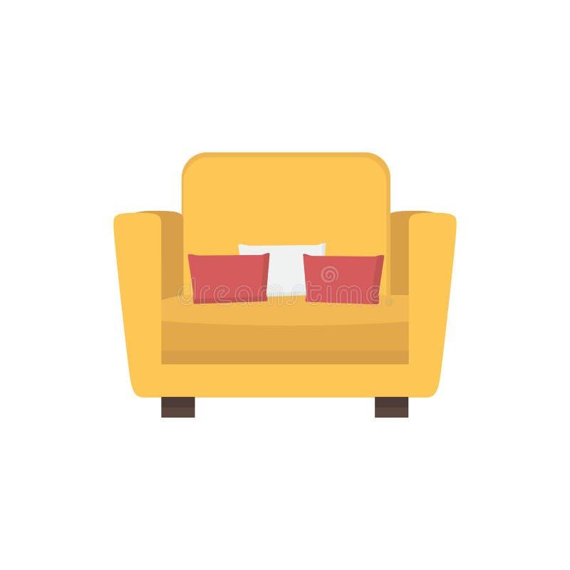 Fauteuil jaune-orange lumineux avec de petits oreillers Meubles confortables pour la vie ou la pièce de lit Vecteur plat photographie stock libre de droits