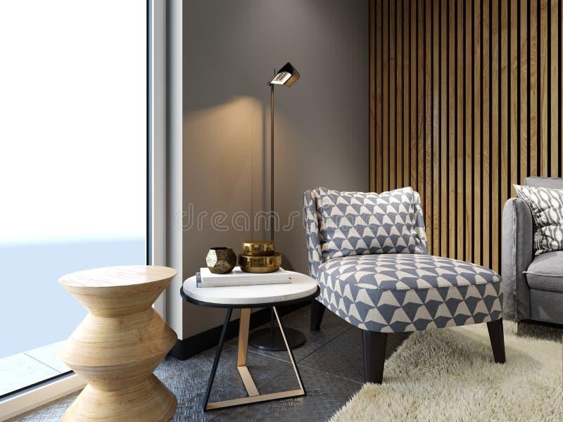 Fauteuil mou de concepteur dans le style de grenier avec deux tables latérales créatives avec le décor et le lampadaire, tissu mo illustration stock