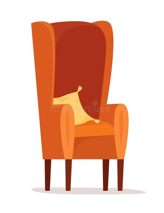 Fauteuil mou simple avec l'oreiller Style plat illustration stock