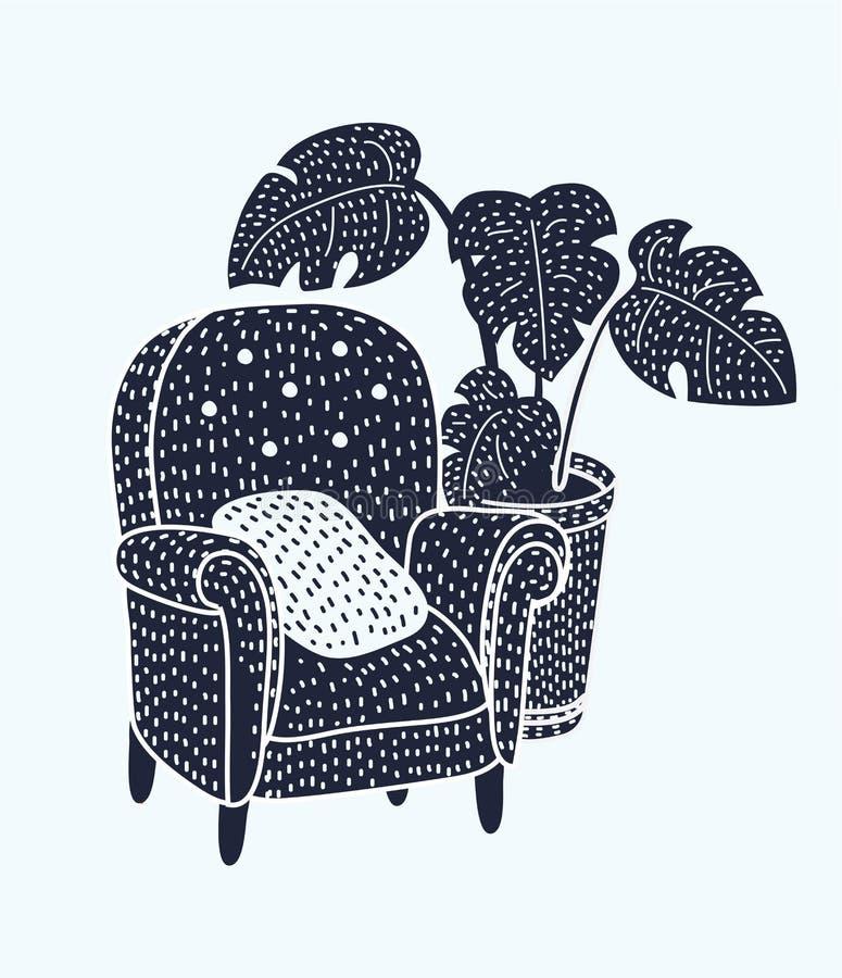 Fauteuil noir et blanc illustration de vecteur