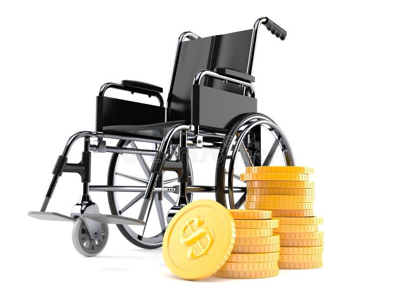 Fauteuil roulant avec la pile de pièces de monnaie illustration libre de droits