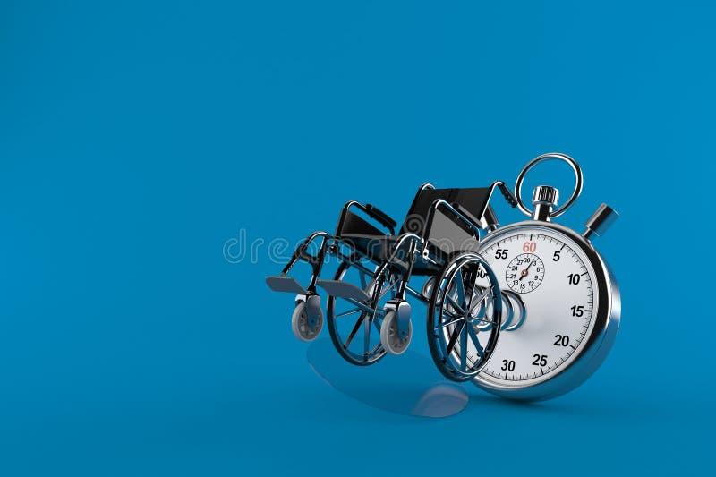 Fauteuil roulant avec le chronomètre illustration libre de droits