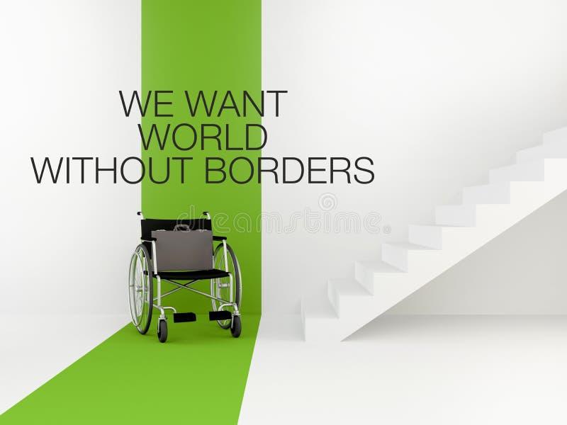Fauteuil roulant devant les escaliers Le concept d'un environnement accessible Offre d'emploi pour un handicapé illustration libre de droits