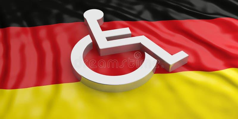 Fauteuil roulant, signe handicapé d'isolement sur le fond allemand de drapeau illustration 3D illustration libre de droits