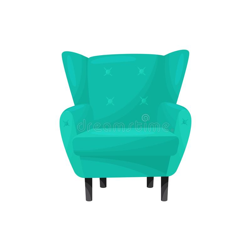 Fauteuil vert sur l'illustration blanche de background concept de meubles illustration de vecteur