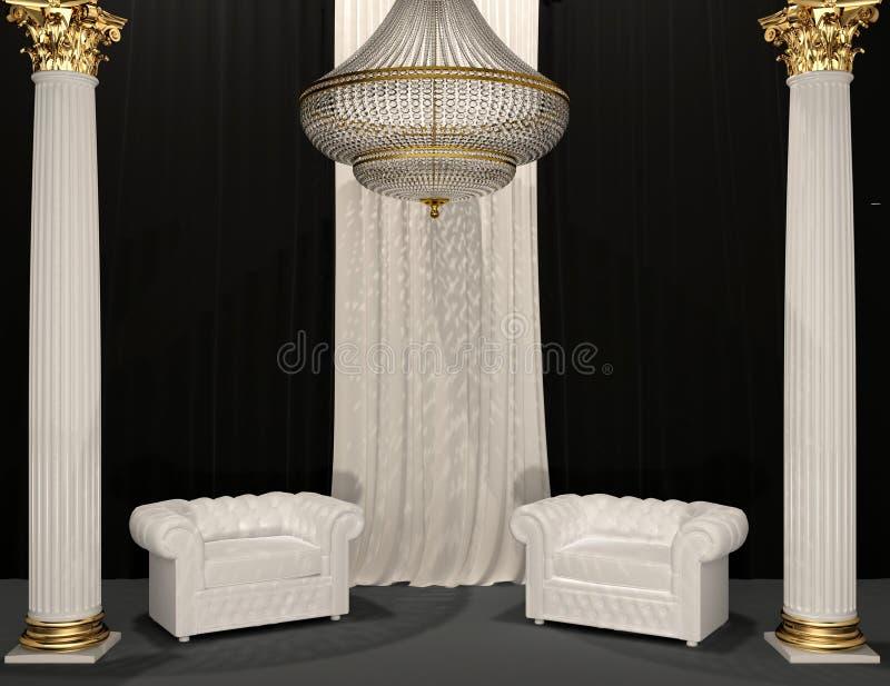 Fauteuils de luxe classiques dans l'intérieur royal image stock