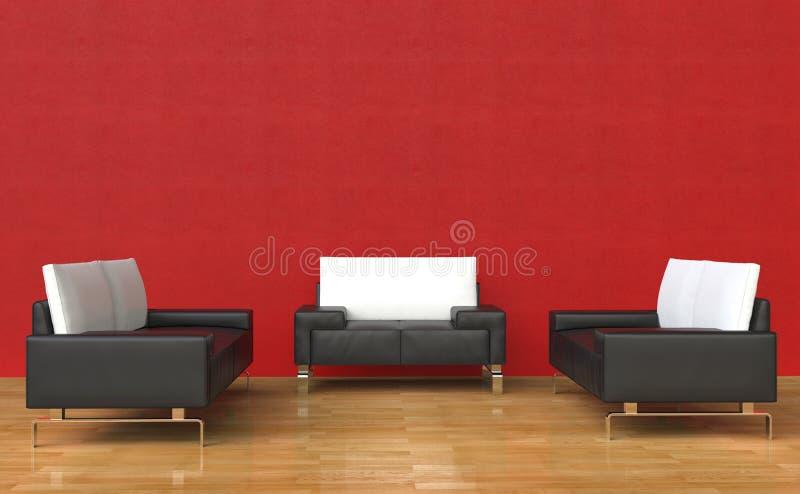 Fauteuils et sofa rouges de cuir de pièce illustration stock