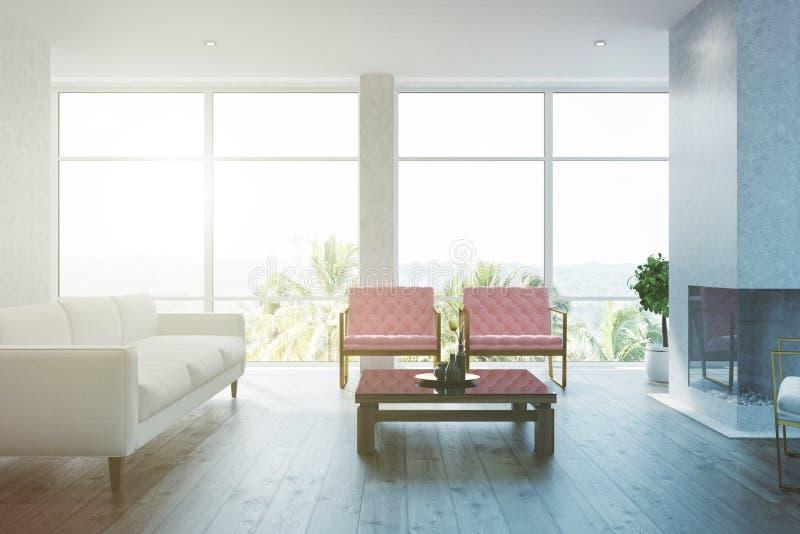 Fauteuils roses intérieurs de salon blanc modifiés la tonalité illustration libre de droits