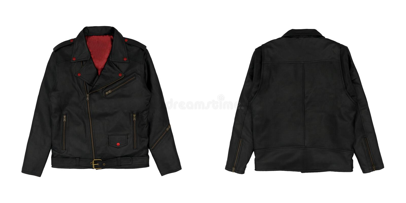 Faux black leather jacket isolated on white background. Faux punk jacket style front and back view. Ready for your mock up design. Project stock image