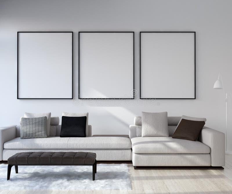 Faux cadre haut d'affiche à l'arrière-plan intérieur à la maison, salon moderne de style image libre de droits