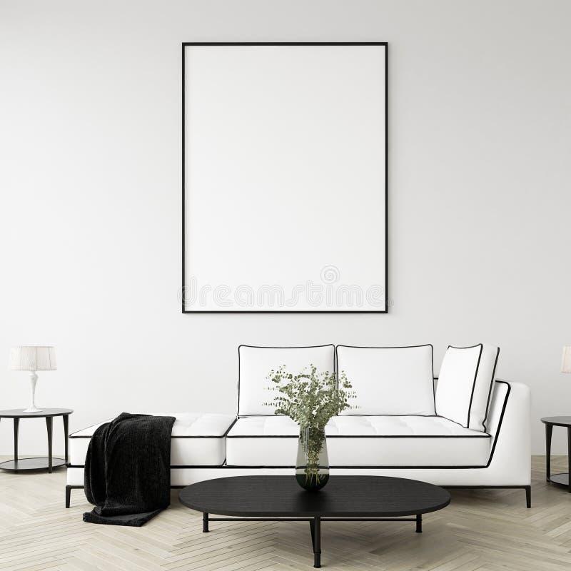 Faux cadre haut d'affiche à l'arrière-plan intérieur à la maison, salon moderne de style illustration de vecteur