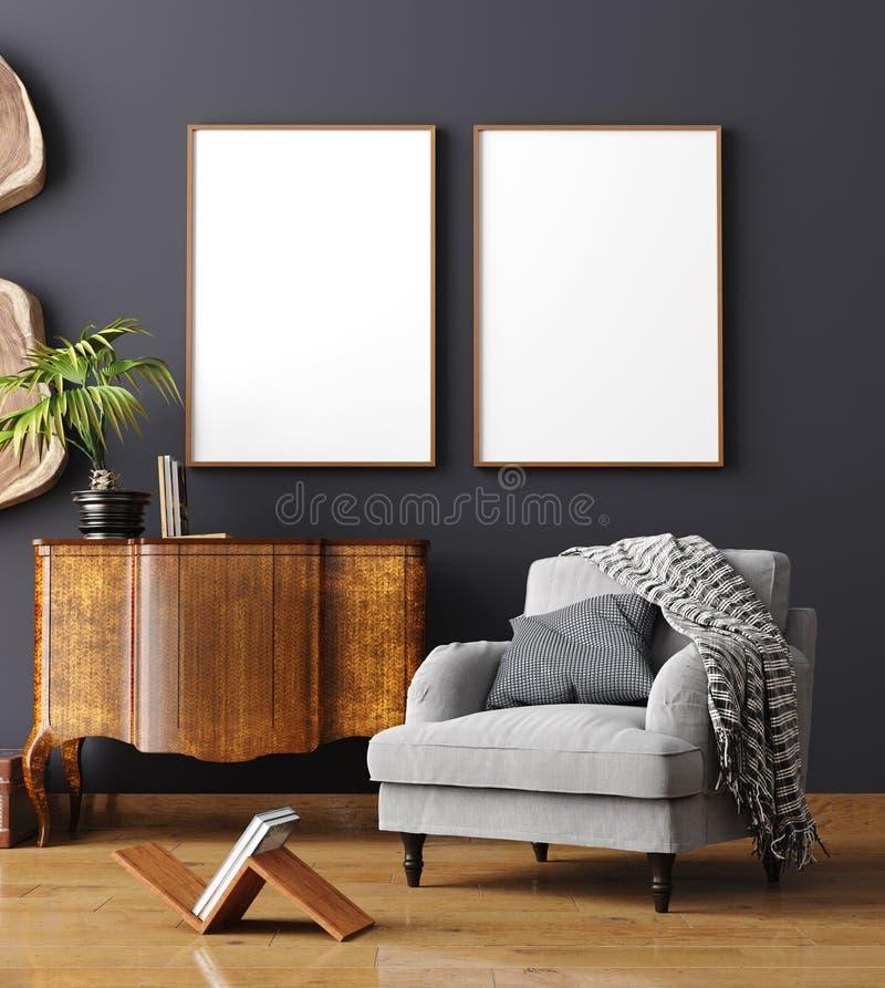 Faux cadre haut d'affiche à l'arrière-plan intérieur à la maison, style scandinave photos libres de droits