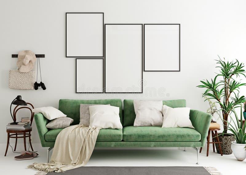 Intérieur Vert De Salon Avec L\'affiche Illustration Stock ...