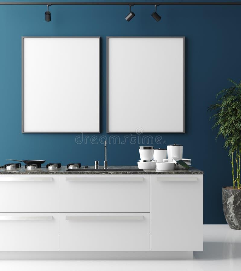 Faux cadre haut d'affiche dans l'intérieur contemporain de cuisine, style moderne illustration de vecteur