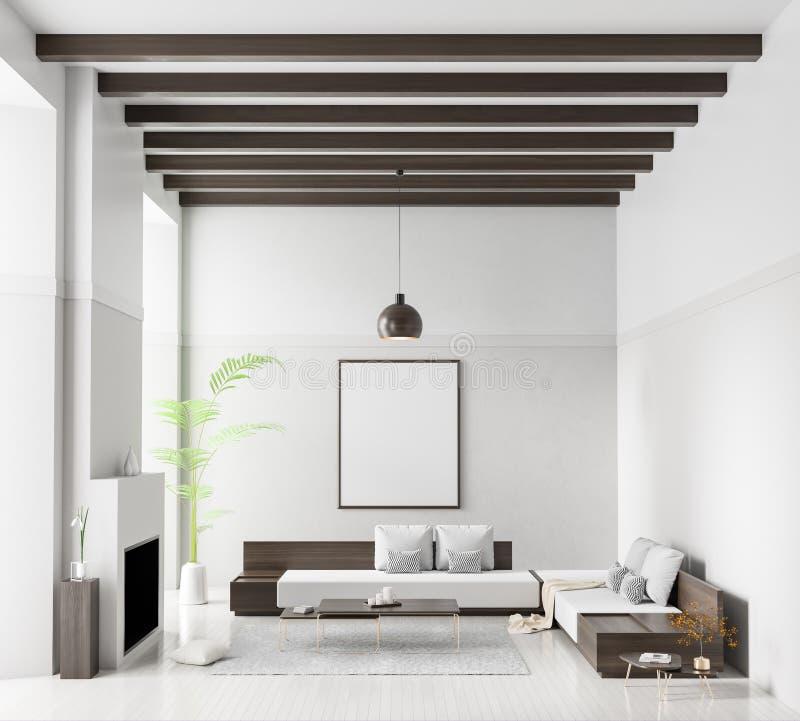 Faux cadre haut d'affiche dans l'int?rieur scandinave de style Conception intérieure moderne minimaliste avec la cheminée illustr illustration de vecteur