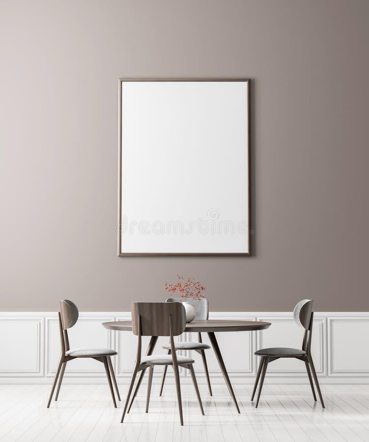 Faux cadre haut d'affiche dans la salle ? manger de style scandinave Conception minimaliste de salle ? manger illustration 3D images libres de droits