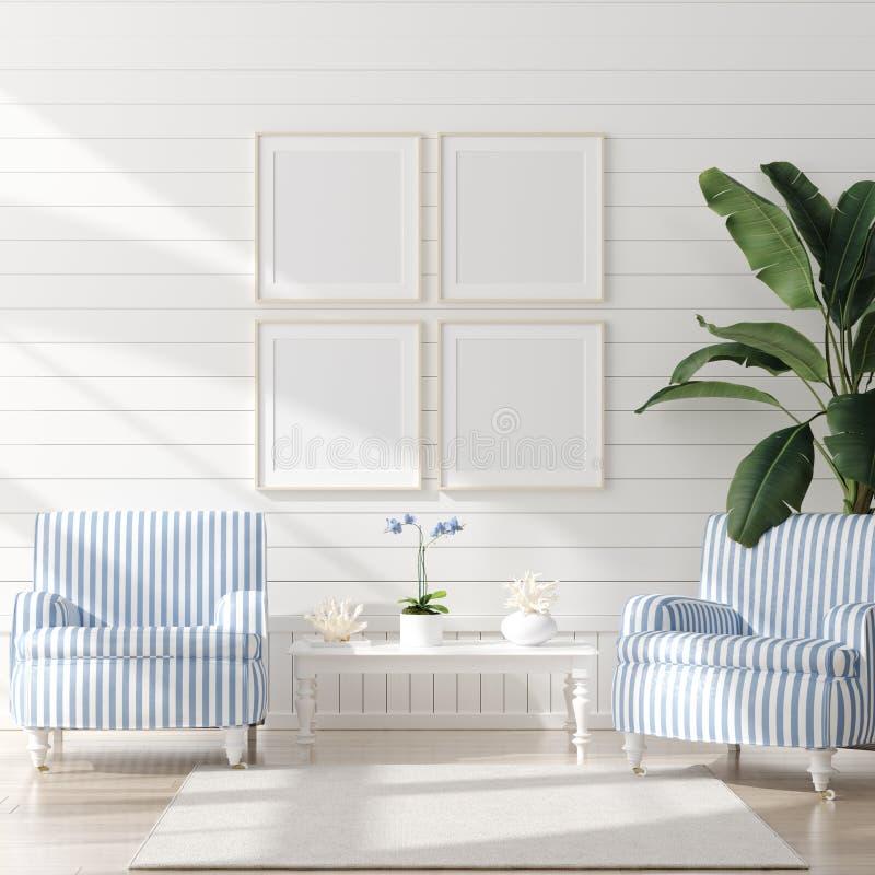 Faux cadre haut dans l'int?rieur de chambre ? coucher, pi?ce marine avec le d?cor de mer et meubles, style c?tier image stock