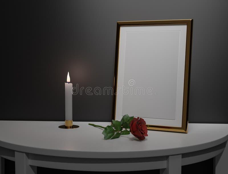 Faux cadre haut pour une image commémorative d'une personne photos libres de droits