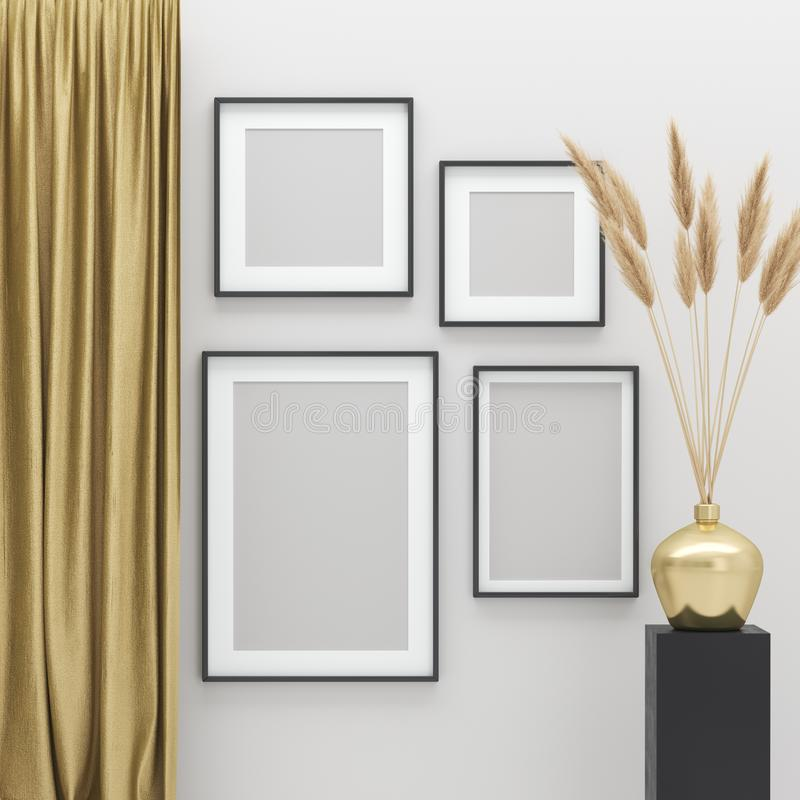 Faux cadres hauts d'affiches à l'arrière-plan intérieur avec les éléments d'or de décor photos stock