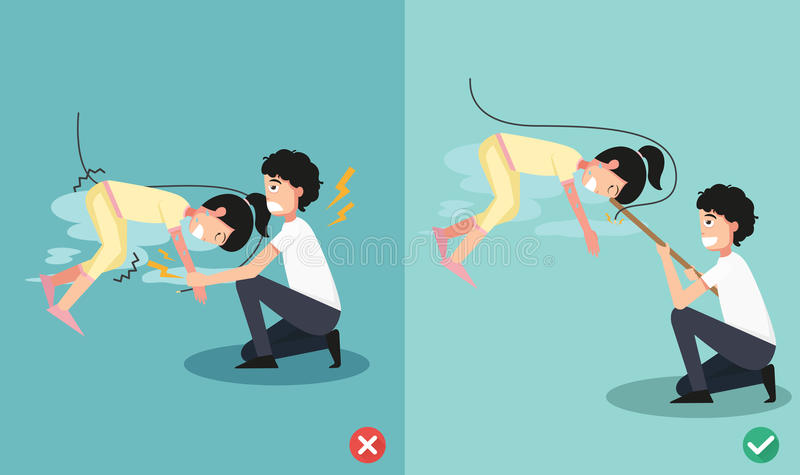 Faux et droit pour le risque de décharge électrique de sécurité Illustration illustration libre de droits