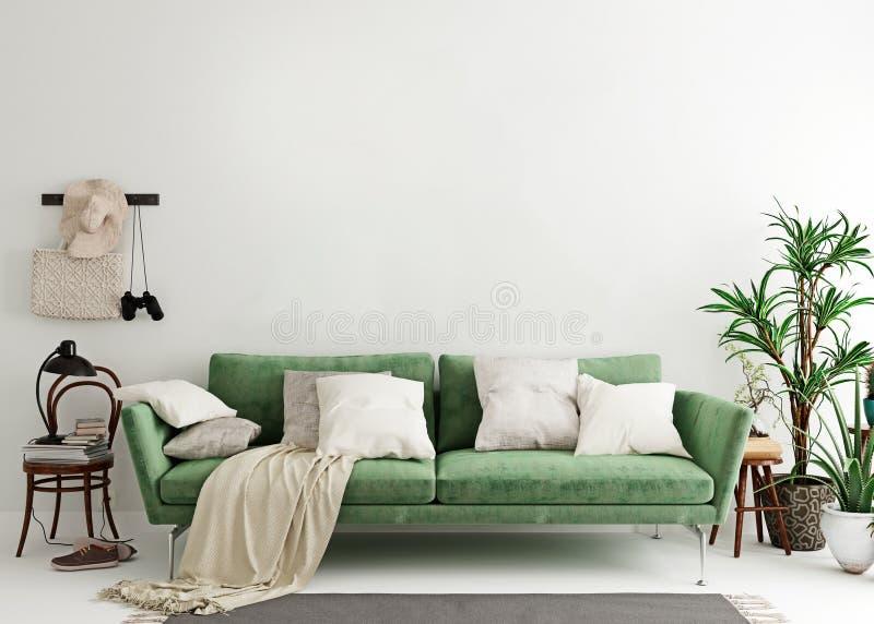 Intérieur Moderne De Salon Avec Le Mur Vert Illustration ...