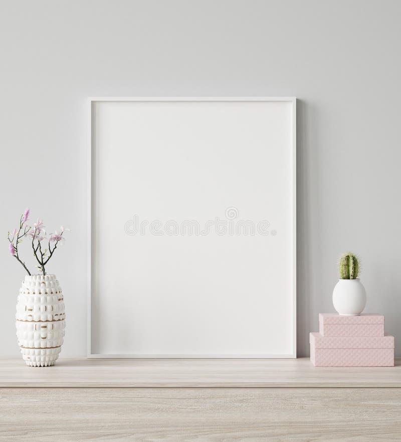 Faux plan rapproché haut de cadre d'affiche à l'arrière-plan intérieur, style scandinave photo stock