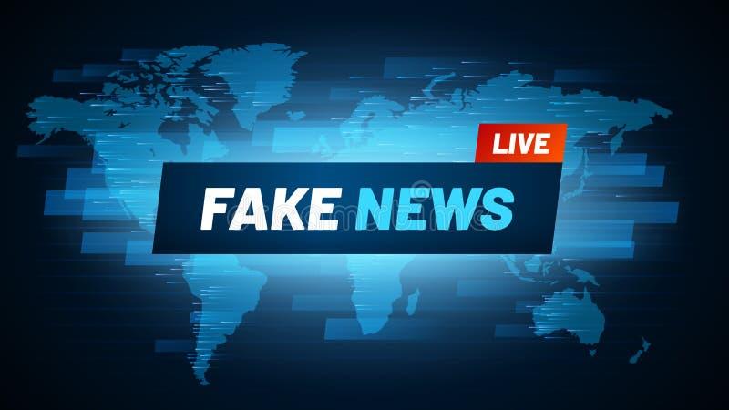 Faux titre d'actualités Le logo de fabrication de reportage de télévision, la radiodiffusion de tromperie et la falsification soc illustration libre de droits