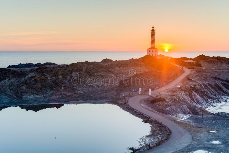 Favaritx fyr i Minorca, Spanien royaltyfri foto