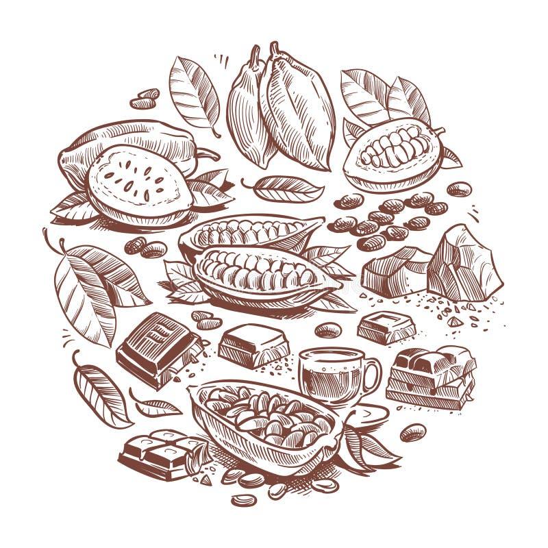 Fave di cacao disegnate a mano, progettazione del cioccolato Scarabocchii il grafico di vettore dell'albero di cacao isolato su f illustrazione di stock