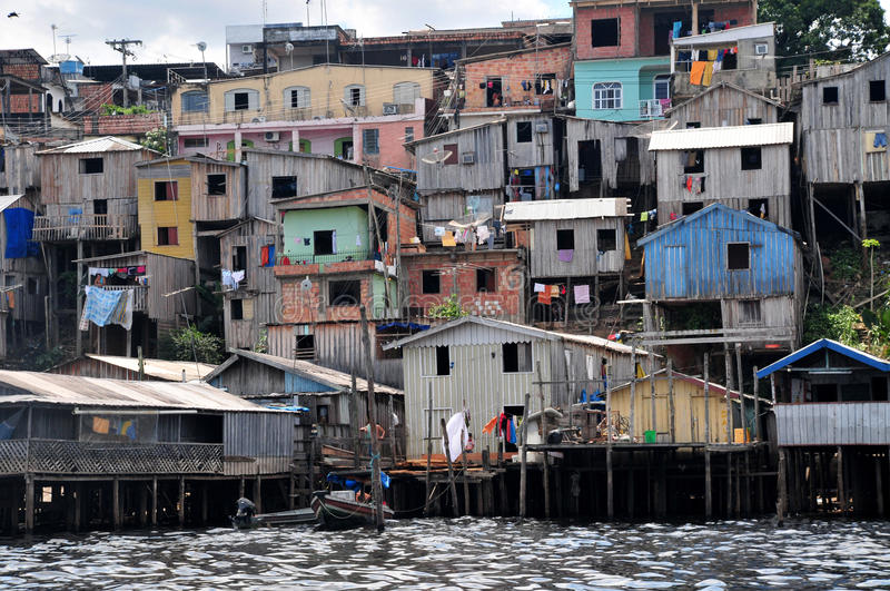 Favela. A favela view with its typical houses, here in the bank of the rio Amazonas - amazon river royalty free stock photo