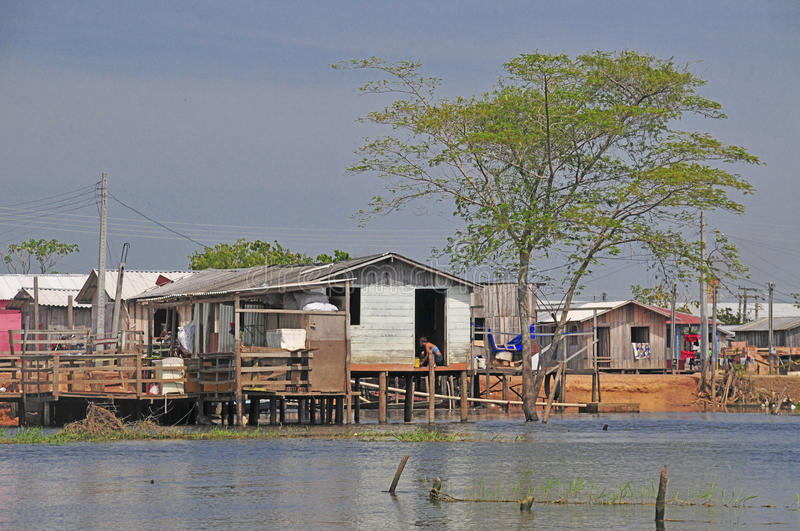 Favela. A favela view with its typical houses, here in the bank of the rio Amazonas - amazon river a stilt houses stock images